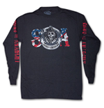 SONS OF ANARCHY Reaper USA Flag Black Long Sleeve Graphic Tee Shirt