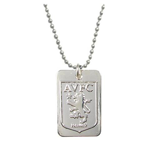 Aston Villa F.C. Silver Plated Dog Tag and Chain