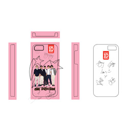 One Direction iPhone4S Cover 1D Design: Pink Stars
