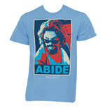 The Big Lebowski Red Blue Abide Light Blue Graphic Tee Shirt